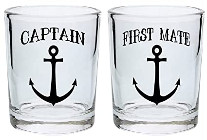 bridal shower gifts couples shot glasses captain and first mate nautical anchor funny wedding gift for