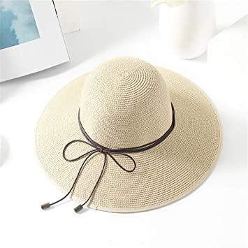 YEZIJIN Women Solid Color Big Brim Straw Hat Sun Floppy Wide Brim Hats Beach Cap