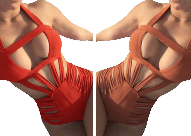 Nulibenna Women's Bandage Halter One Piece Bikini Cut Out Bathing Suit at Amazon Women's Clothing store