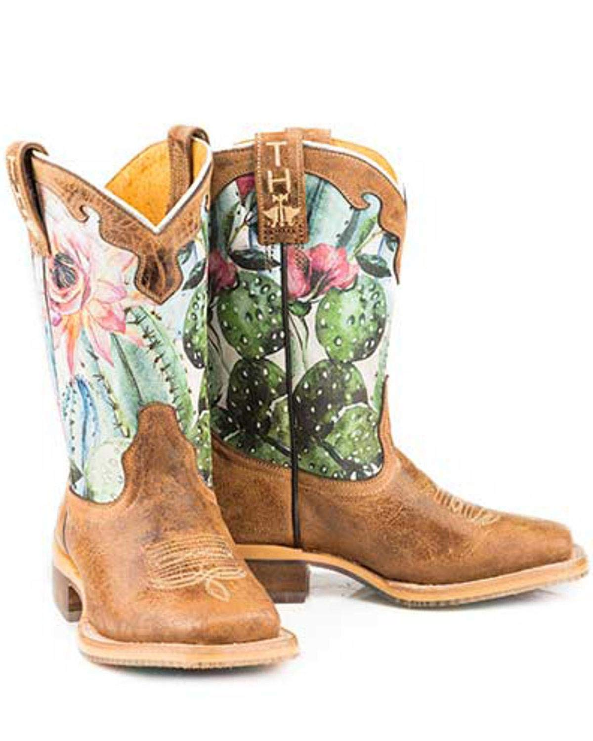 Tin Haul Girls' Cactilicious Embroidered Western Boot Square Toe Brown 1 D by Tin Haul Boots