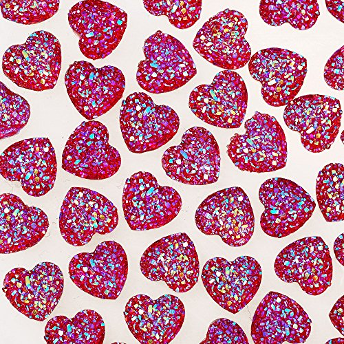 100pcs 12mm Heart Resin Cabochons Square Embellishments Craft Supplies,Druzy Cabochons,Red ()