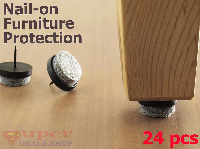 24 Pcs Nail On Slider Glide Pads Furniture Pads Nail On Furniture  Protectors Felt Furniture Pads Anti Sliding Felt Pad For Furniture Hardwood  Laminate Patio ...