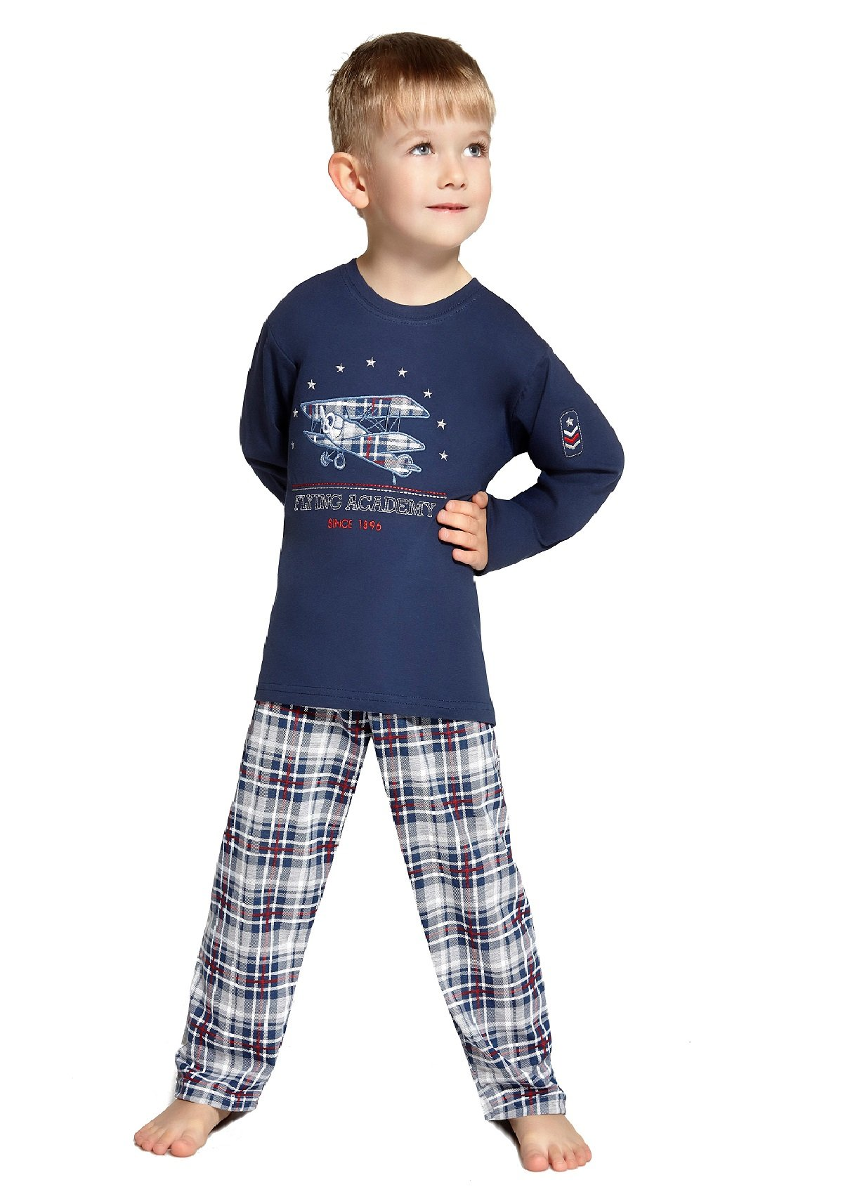 Two-Piece Long-Sleeved Pajamas For Boys Flying Academy by Cornette 100% Cotton