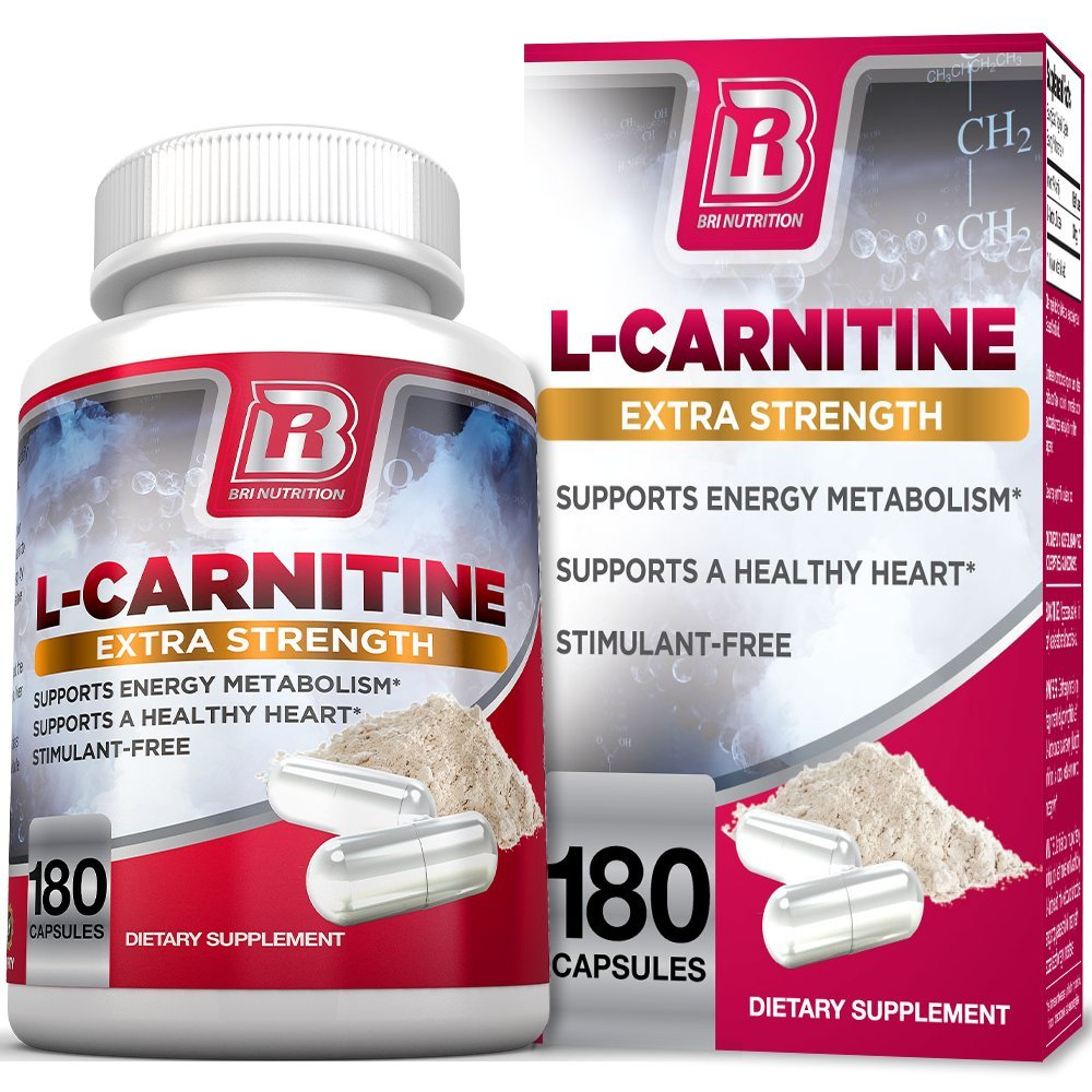 BRI L-Carnitine - 180 Tables 1000mg per Serving Premium Quality Carnitine Amino Acid Natural Fat Burner Supports Athletic Performance, Stamina and Heart Health; Stimulant Free Veggie Capsules by BRI Nutrition
