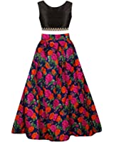 SKY WORLD Girl's Digital Printed un-stitched Lehenga choli (8-12 Yrs) (SW_584)