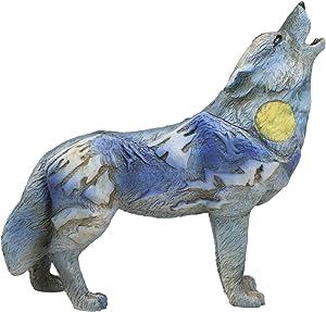 "Ebros Gift Native Tribal Howling Wolf Totem Spirit Figurine Collection 6.25"" L Animal Decor Statue (Midnight Moon Mountain Range)"
