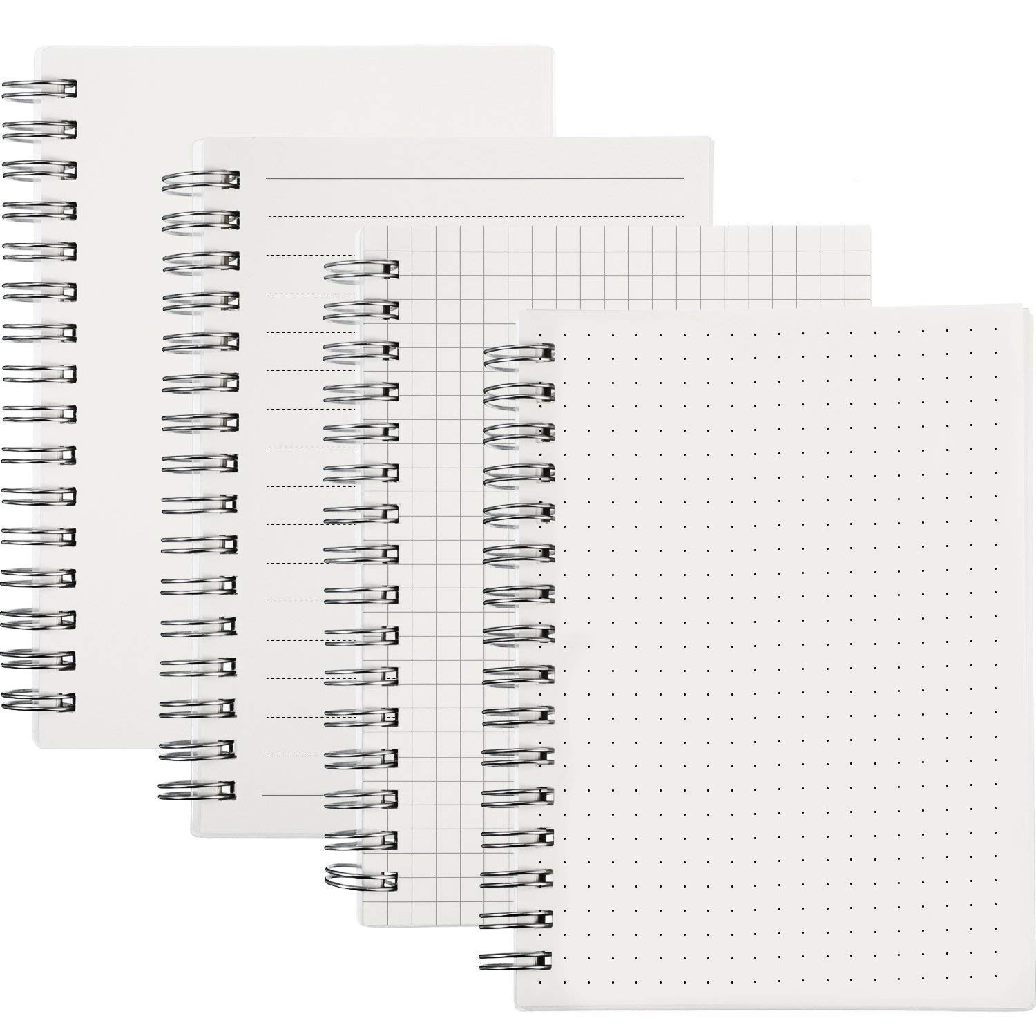 M-Aimee 4 Packs A6 Spiral Notebooks Blank Pages Sketch Notebook Journal Travelers Wirebound Notebooks, 80 Sheets Per Book, Thick Dotted Paper, Wirebound