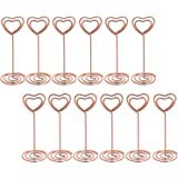 Bememo 12 Pack Heart Shape Table Number Photo Holder Stands Place Card Paper Menu Clips for Weddings Party (Rose gold)