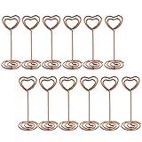 Bememo 12 Stück Herzförmig Tisch Nummer Fotohalter Ständer Platz Karten Papier Menü Klammer für Hochzeit Party ( Rosegolden)