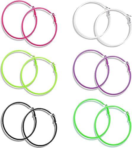 Blue /& Black Fuchsia Pink Large Hoop Earrings 4 Pairs Red