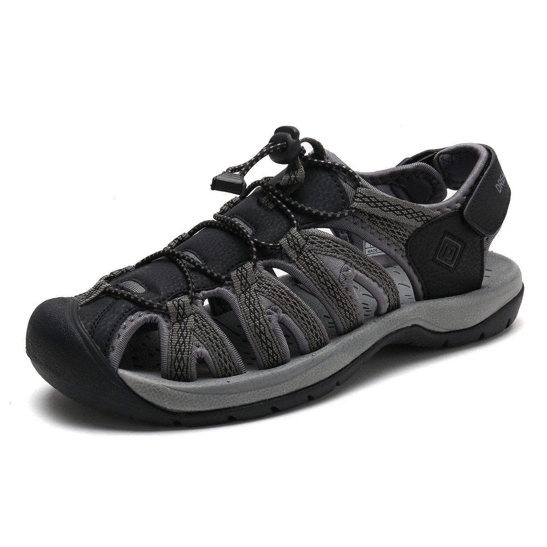 DREAM PAIRS Men's 160912-M-NEW Black DK.Grey Adventurous Summer Outdoor Sandals Size 12 M US