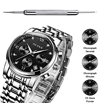 Mens Outdoor Sprorts Wrist Watches with 3 Chronographs Black Dial with Stainless Steel Band Watch Waterproof