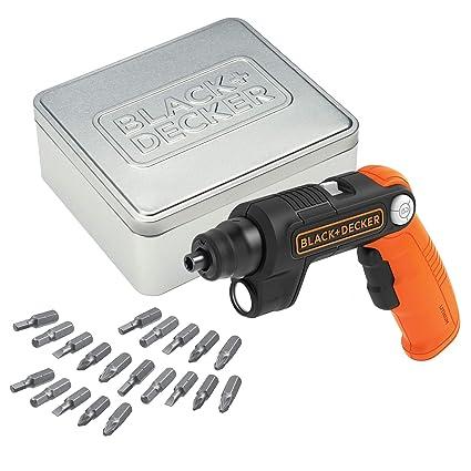 BLACK+DECKER BDCSFL20AT-QW - Atornillador batería litio 3.6V con 20 accesorios y caja de almacenamiento