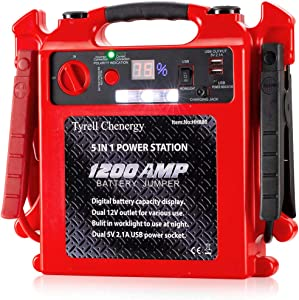 Car Jump Starter Battery Charger, Portable Power Pack (Up to 8L Gas or 6L Diesel Engine), 12V Portable Powerful Starter Auto Battery Booster with Dual USB Ports and LED Light
