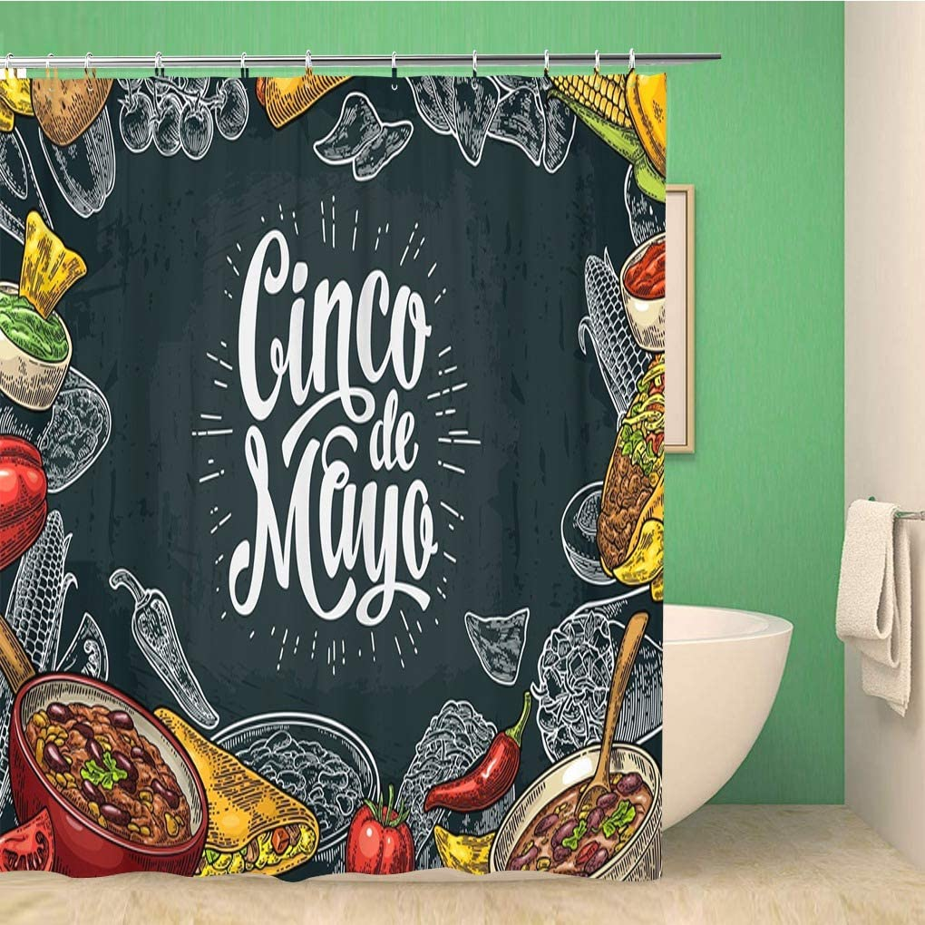 rouihot Bathroom Shower Curtain Cinco De Mayo Lettering and Mexican Traditional Food Guacamole Polyester Fabric 72x72 inches Waterproof Bath Curtain Set with Hooks