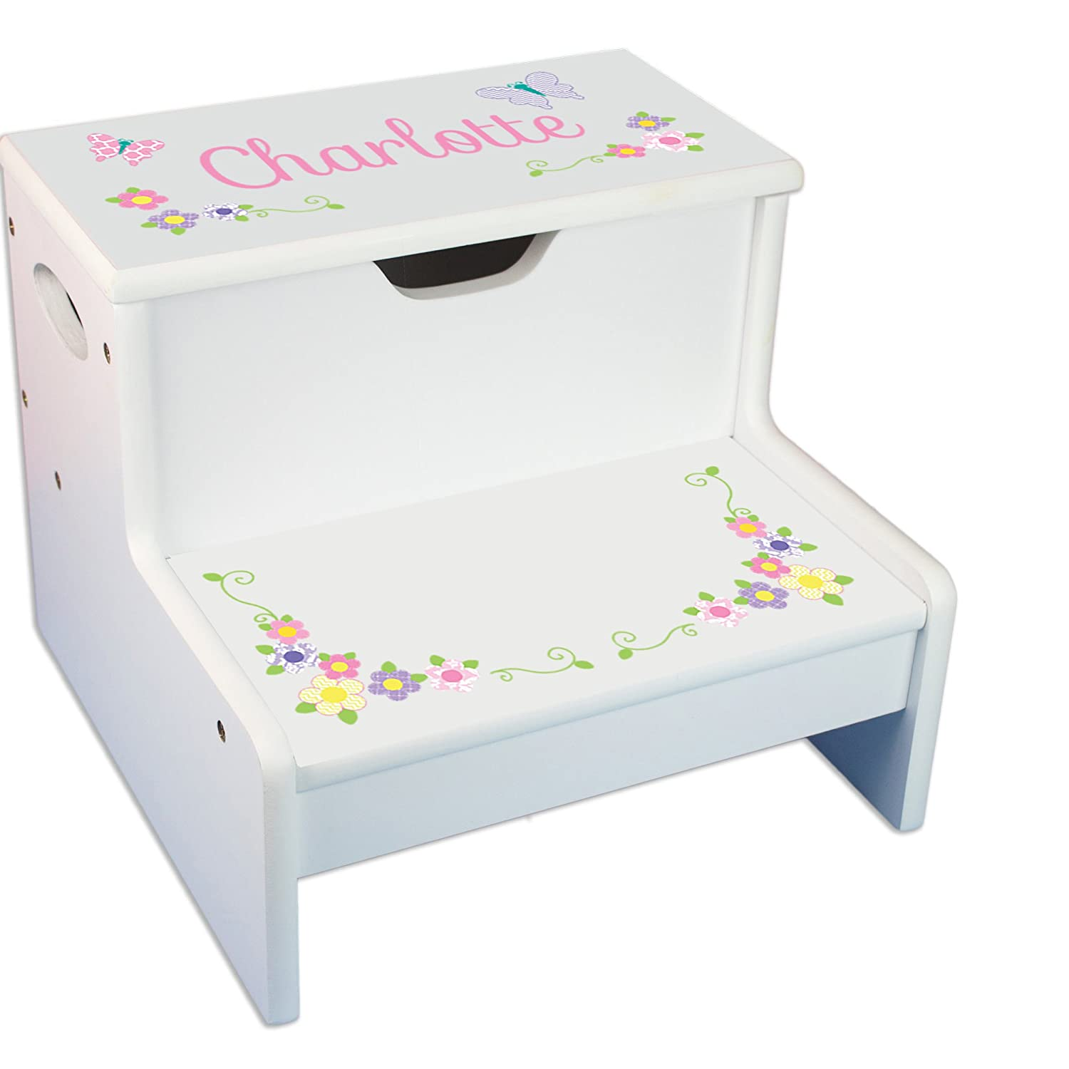 Personalized Pastel Butterfly Garland White Childrens Step Stool with Storage MyBambino step-whi-304b