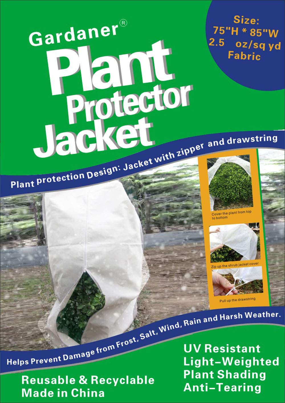 Gardaner Plant Covers Freeze Protection Plant Frost Blanket – 2.5 oz yd 85 X 75 inch for Cold Weather, Reusable Shrub Jacket Covers with Zipper Drawstring