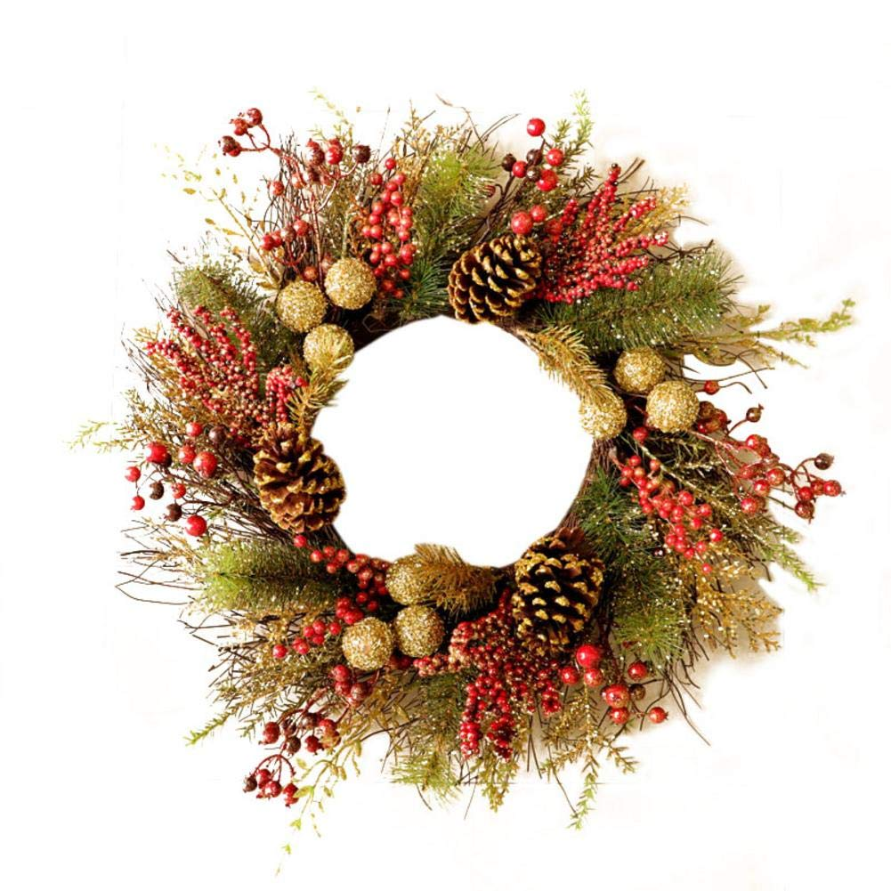 Front Door Hanging Wreath with Glittering Balls & WhitePineNeedles&RedFruit,Xmas Decoration Pendant for Hotel Home Window Mall Bar Christmas New-Year Party