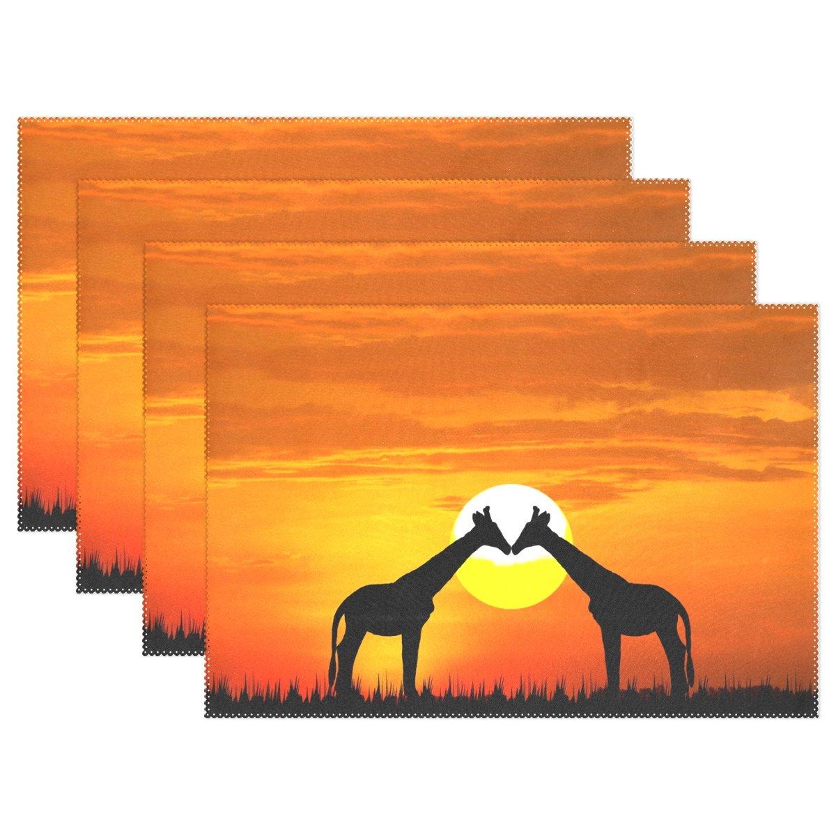 Wozo Romantic Kiss Giraffe Sunsetプレースマットテーブルマット12