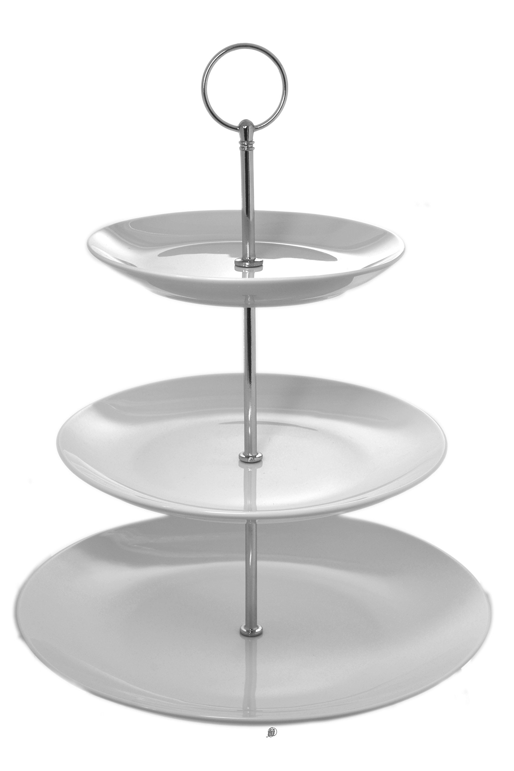 11'' Round 3-Tier Serving Tiered White Porcelain Dessert Plate Pastry Stand