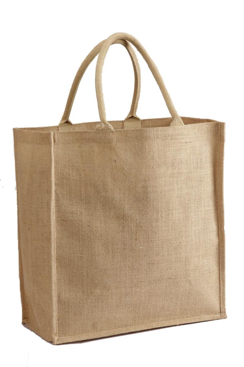 自然ジュート黄麻布トートバッグwith Cotton Webbedハンドルサイズ16
