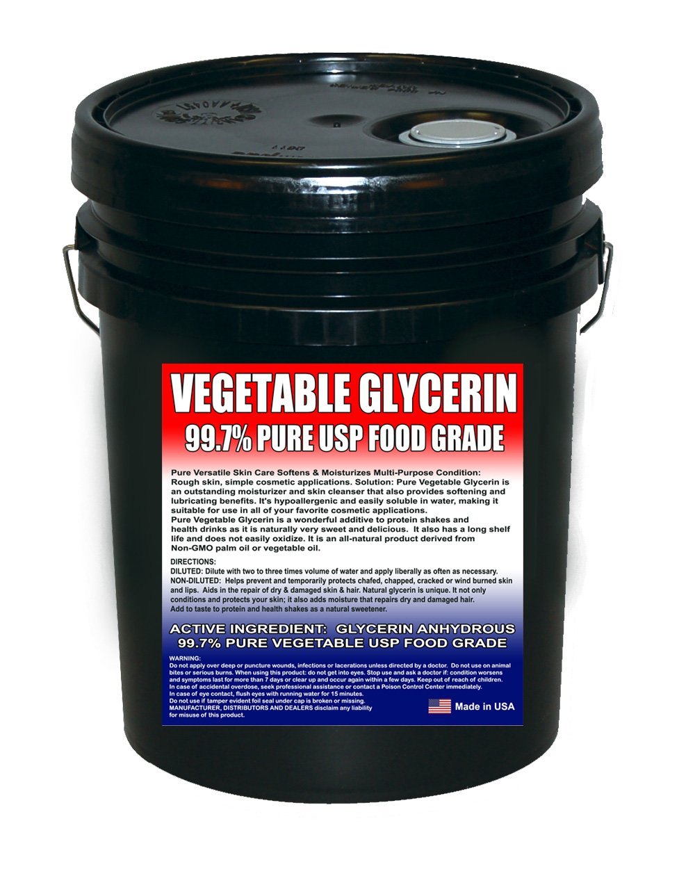 Vegetable Glycerine Kosher USP 99.7%+ Pure - Highest Quality and Perfect Sweetness - (5 Gallon Pail)
