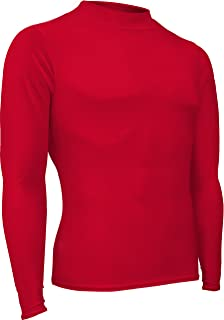 product image for HT-501L-CB Men's and Women's Athletic Form Fit, Long Sleeve Mock Neck Shirt-for Track, Volleyball, Soccer, Football, Underwear, and Outdoor Sports Red