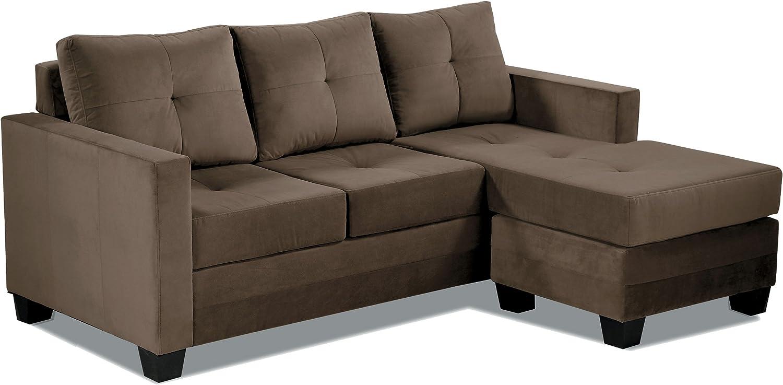 "Homelegance Phelps 7"" x 7"" Microfiber Reversible Chaise Sofa, Brown"