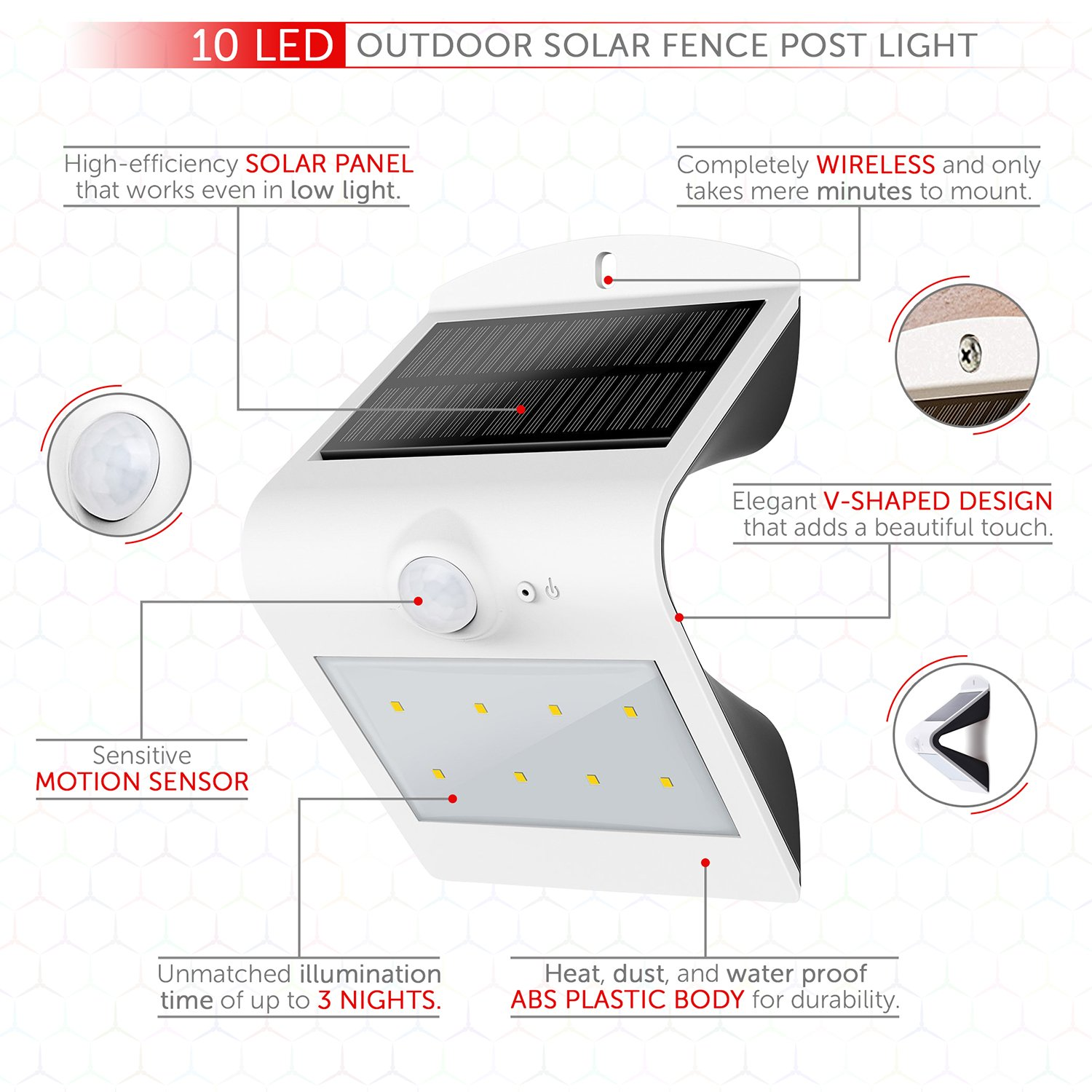 10 Led Outdoor Solar Fence Post Light Motion Activated Wiring Diagram Security Lighting Wireless Exterior Lantern Unmatched Operating Time Best Spotlight