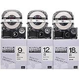 互換 キングジム 白 黒文字 カートリッジ テプラPRO テープ 9mm 12mm 18mm SS9K SS12K SS18K 永久保証 3本セット長さ8M