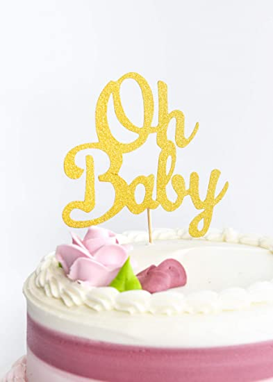 Baby Shower Cakes For Girls.Baby Shower Cake Topper Oh Baby Gold Color Sign And 6