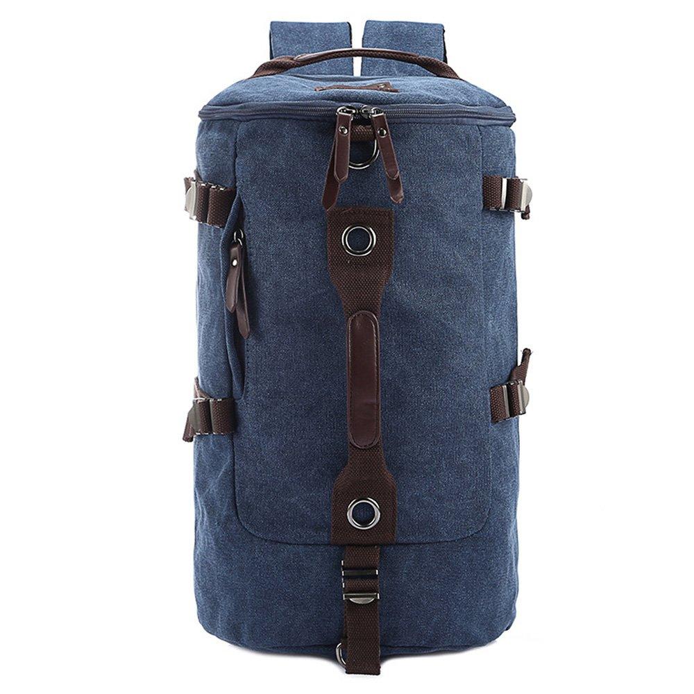 homeabc多機能キャンバスバックパックsingle-shoulderバッグハンドバッグ旅行バッグハイキングバッグキャンプバッグリュックサック Small ブルー B01J7E59CI