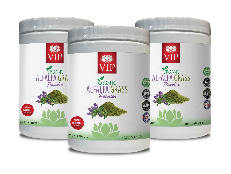 antioxidant Organic - Alfalfa Organic Grass Powder - Digestion Supplements - 3 Cans 24 OZ (168 Servings)