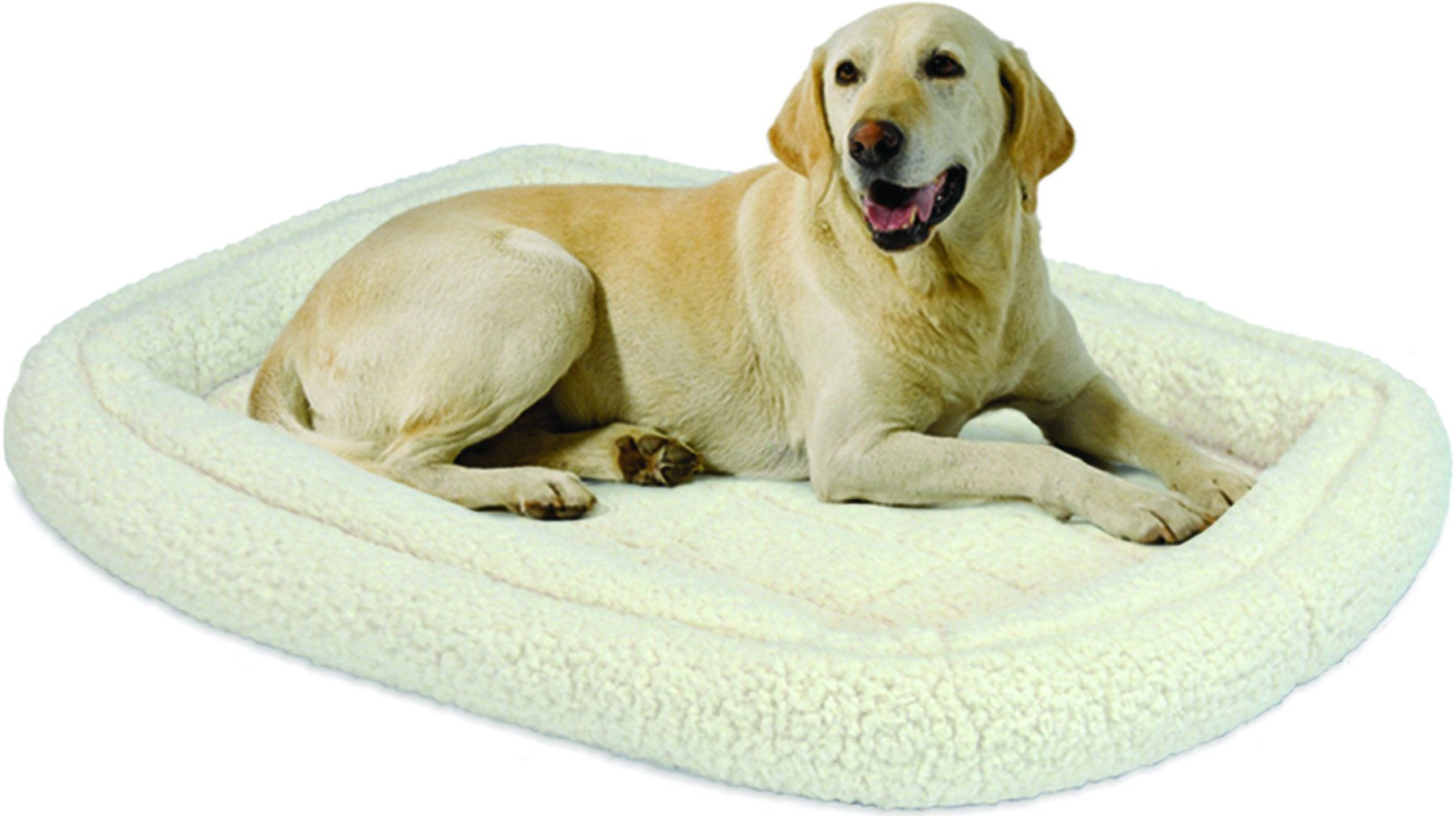 Midwest Homes for Pets Double Bolster Bed White Fleece 42-Inch