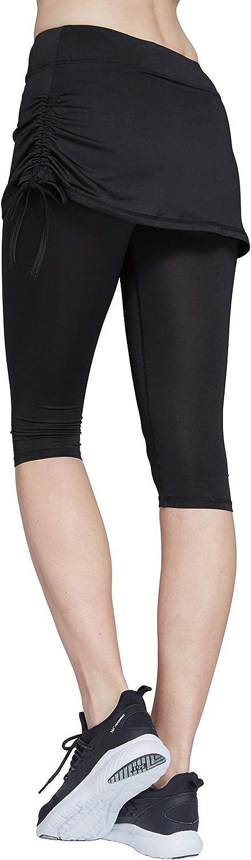 HonourSport Women Cropped Golf Active Skorts Leggings Side Drawstring Running Capri Skirt