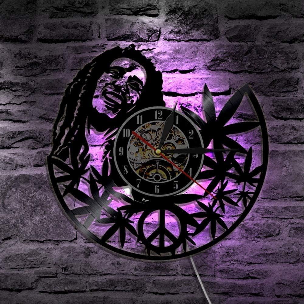 FANCYLIFE Bob Marley 3D Horloge Murale Lampe Style Antique Disque Vinyle Lumi/ère Salon Art