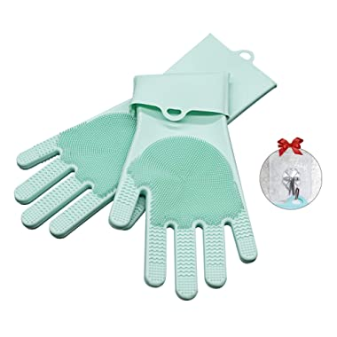 Double-Sided Magic Silicone Scrubbing Gloves with Scrubber Reusable Dishwashing Gloves Cleaning Brush for Dish Washing, Cooking, Kitchen & Household Cleaning, Pets Cleaning & Car Clean