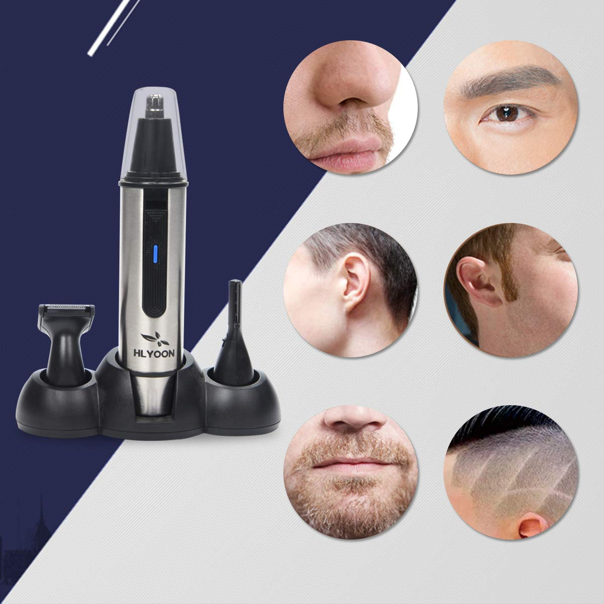 HLYOON 3 in 1 Nose & Ear Hair Trimmer with LED Light, Wet/Dry, Waterproof Stainless Steel, Beard and Eyebrow Grooming Set, Battery-Operated