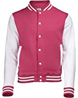 VARSITY COLLEGE JACKET (Hot Pink / White) NEW PREMIUM Unisex American Style Letterman Blank Baseball Custom Top Mens Womens Ladies Gift Present Quality AWD - By 123t