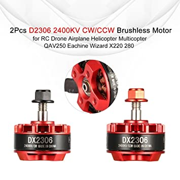 2 Paquetes】 D2306 2306 2400KV 2-4S CW / CCW Motor sin escobillas ...