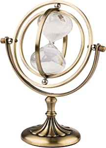 KSMA Rotating Hourglass Brass-Tone 15 Minutes,Metal Sand Glass Sand Timer for Vintage Home Décor Wedding Gift
