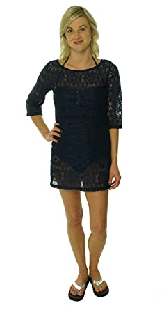 936bc3319e J. VALDI Women's Crewneck Crochet Lace Swim Cover at Amazon Women's ...