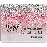 Smooffly Psalm 46:5 God is Within Her,She Will not Fall- Biblia Verse Pink Sparkles Glitter Pattern Alfombrilla para…
