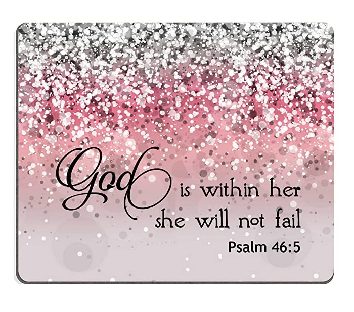 Smooffly PSALM 46:5 God is Within Her,She Will not Fall- Bible Verse Pink Sparkles Glitter Pattern Mouse pad Mousepads