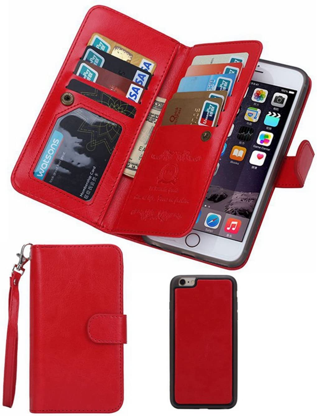 HYSJY iPhone 5S/SE Wallet Case, Magnetic Detachable PU Leather Wallet Purse for Women Men with Strap, Credit Card Slots, Card Holer,Flip Slim Cover Case Fit iPhone 5/5S/SE (Card-Red)