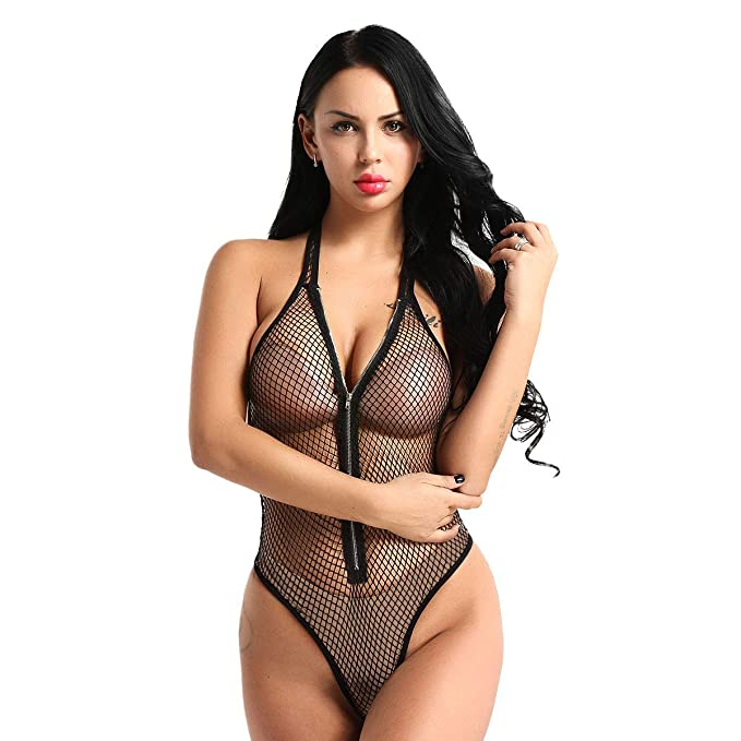 f07a394bbb ACSUSS Women s Sexy Fishnet Lingerie See Through Mesh Bodysuit Halter Thong  Leotard Black Medium