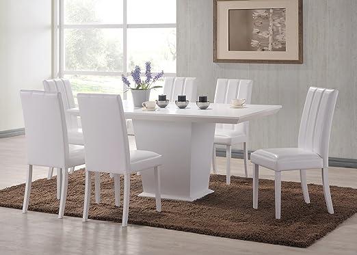 HGG blanco mesa de comedor con sillas - centro de mesa - juego de ...