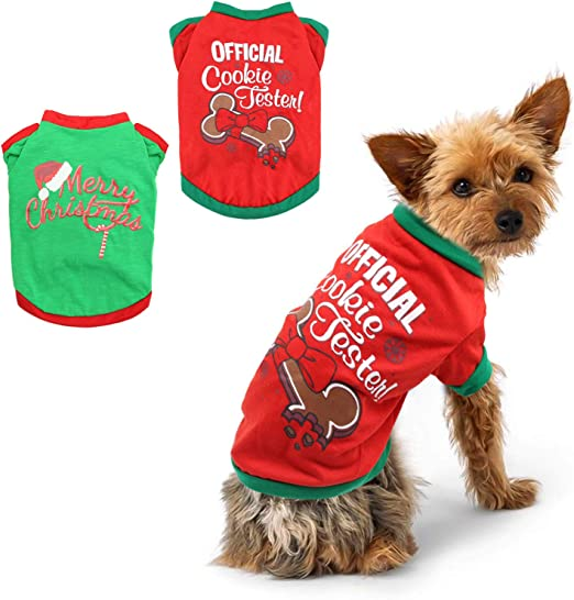 BWOGUE 2 Pack Christmas Dog Shirts for Pet Clothes Soft Breathable Puppy Shirts Printed Pet T-Shirt Puppy Dog Clothes for Small Dogs Cats Christmas Cosplay,L
