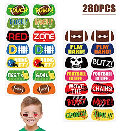 Amazon.com: Football Game Face Temporary Tattoos Stickers - Party ...