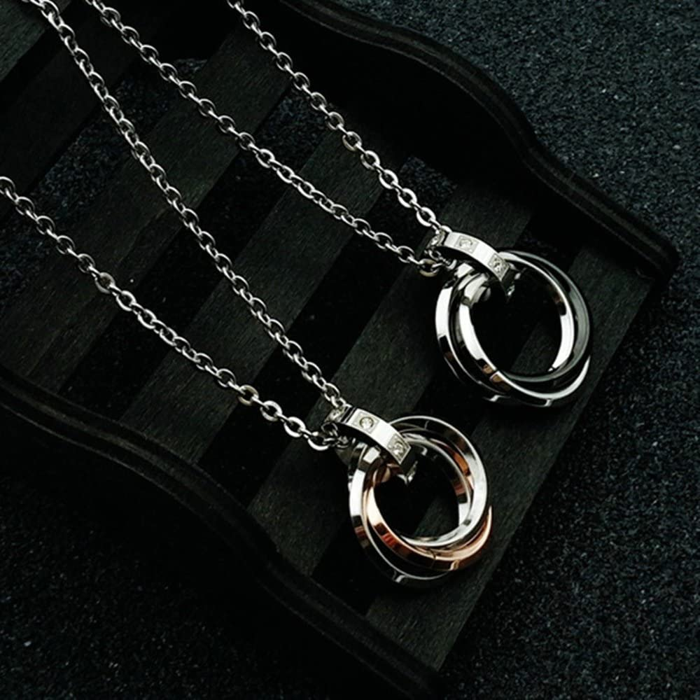 Onefeart Stainless Steel Pendant Necklace for Couple Round Zircon Tricyclic Design Couple Pendant